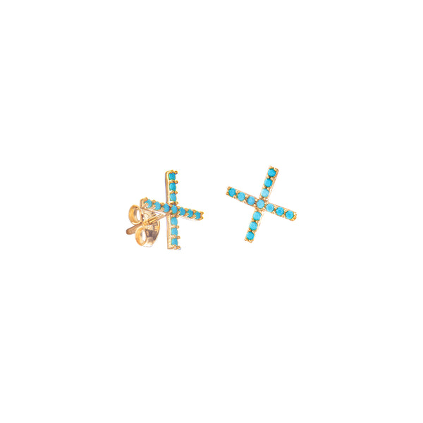 X Turquoise Stud Earrings in 14k Yellow Gold - Bullion & Diamond, Co.