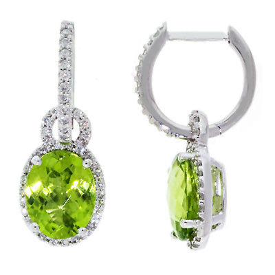 Peridot Diamond Halo Style Dangling Drop Earrings in 14k White Gold - Bullion & Diamond, Co.
