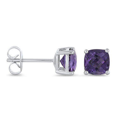 Amethyst Studs Earrings in 14k White Gold