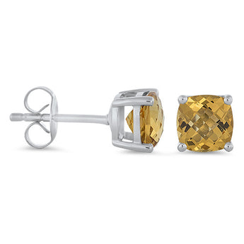 Citrine Studs Earrings in 14k White Gold