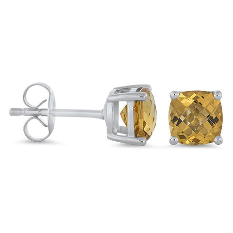 Citrine Studs Earrings in 14k White Gold - Bullion & Diamond, Co.