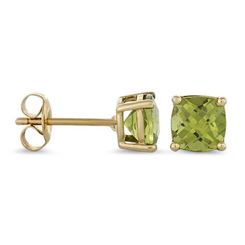 Peridot Studs Earrings in 14k Yellow Gold