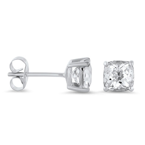 White Topaz Studs Earrings in 14k White Gold