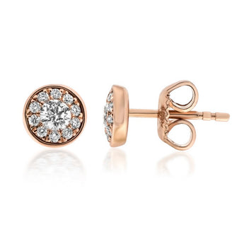 Diamond Cluster Earrings 18k Rose Gold