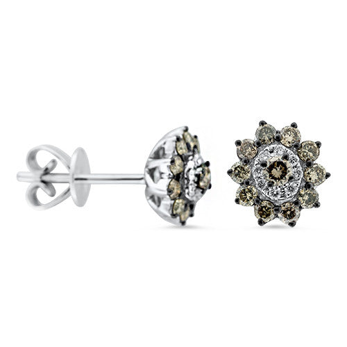 Chocolate and White Stud Earrings in 18k White Gold - Bullion & Diamond, Co.
