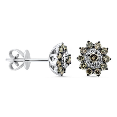 Chocolate and White Stud Earrings in 18k White Gold