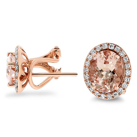 3 Carat Oval Shape Morganite Halo Diamond Stud Earrings in 14K Rose Gold - Bullion & Diamond, Co.