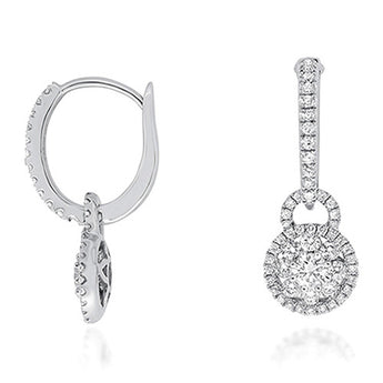 Diamond Dangle Earrings in 18k White Gold