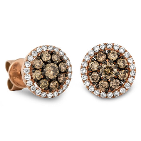 Chocolate Diamond  Round Cluster Earrings in 18k Rose Gold