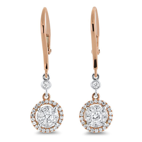 Diamond Cluster Dangle Earrings in 18k Rose and White Gold