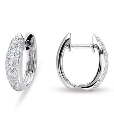 Pave cluster diamond hoop earrings in 18k White Gold