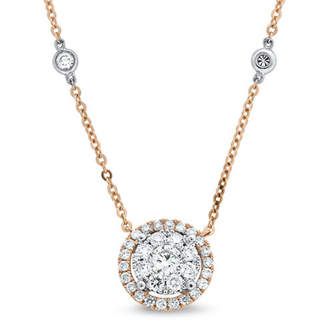 Diamond Cluster Dangle Necklace (Rose & White Gold) - Bullion & Diamond, Co.