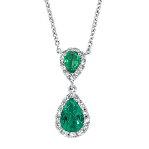 Pear-Shaped Emerald and Diamond Drop Pendant - Bullion & Diamond, Co.