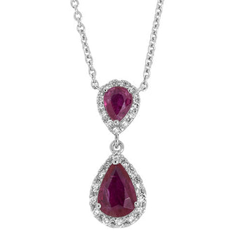 Pear-Shaped Ruby and Diamond Drop Pendant in 18k White Gold
