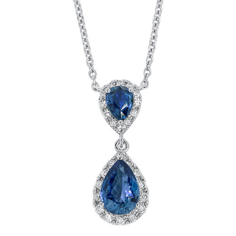 Pear-Shaped Sapphire and Diamond Drop Pendant