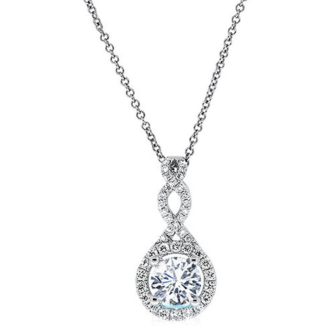 Diamond Infinity Twist Necklace in 14k White Gold (1/2 ct. tw.) - Bullion & Diamond, Co.