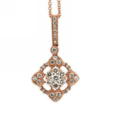 Fancy Diamond Cluster Drop Pendant in 14k Rose Gold