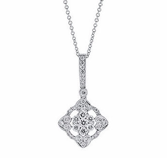 Fancy Diamond Cluster Drop Pendant in 14k White Gold