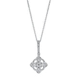 Fancy Diamond Cluster Drop Pendant in 14k White Gold - Bullion & Diamond, Co.