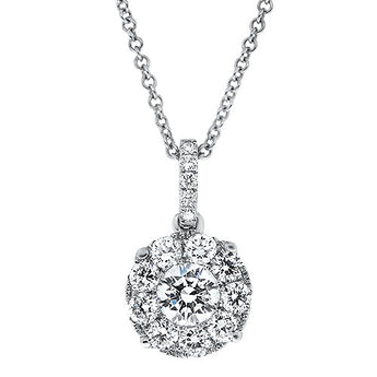 Halo Diamond Pendant Setting in 18k White Gold