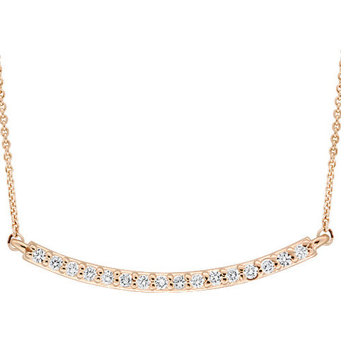Diamond Bar Pendant in 14k Rose Gold - Bullion & Diamond, Co.