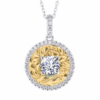 Two Tone Diamond Medallion Necklace in 14k Gold