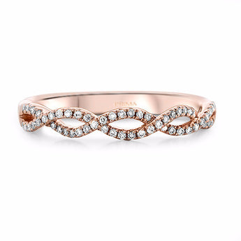 Infinity Twist Micropavé Diamond Wedding Ring in 14k Rose Gold (1/5 ct. tw.)