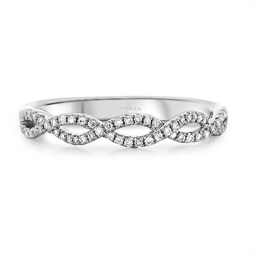 Infinity Twist Micropavé Diamond Wedding Ring in 14k White Gold (1/5 ct. tw.) - Bullion & Diamond, Co.