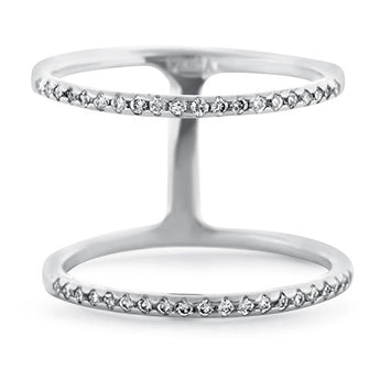 Double Bar Diamond Ring in 18k White Gold