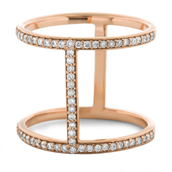 Diamond Bar Ring in 18k Rose Gold