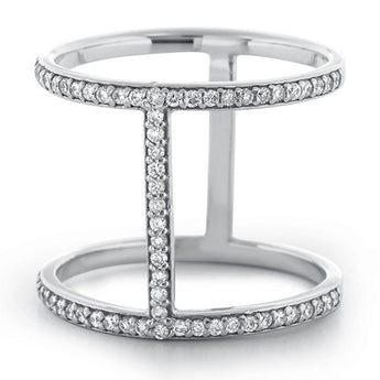Diamond Bar Ring in 18k White Gold