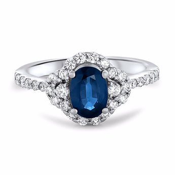Oval Sapphire and Diamond Micropavé Ring in 18k White Gold