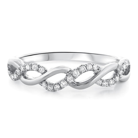 Petite Twist Diamond Eternity Ring in 18k White Gold (1/5 ct. tw.) - Bullion & Diamond, Co.