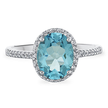 Swiss Blue Topaz and Diamond Ring in 18k White Gold