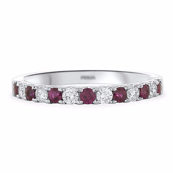 Pavé Ruby and Diamond Ring in 18k White Gold