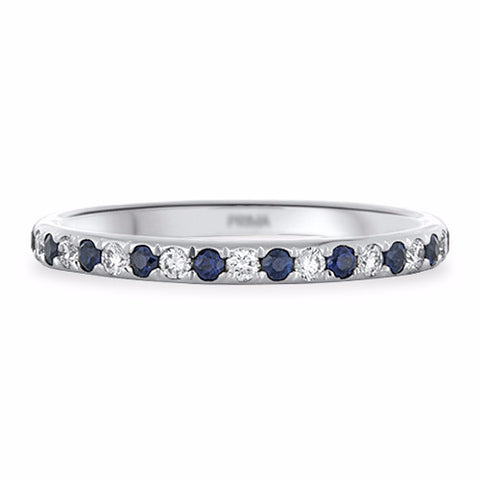 Pavé Sapphire and Diamond Ring in 18k White Gold - Bullion & Diamond, Co.