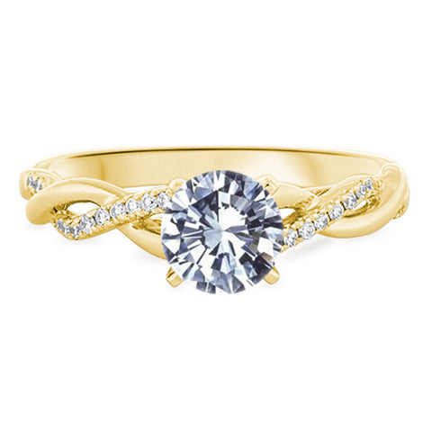 Petite Twist Diamond Engagement Ring in 18k Yellow Gold 1 10 ct