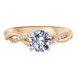 Petite Twist Diamond Engagement Ring in 18k Yellow Gold (1/10 ct. tw.) - Bullion & Diamond, Co.