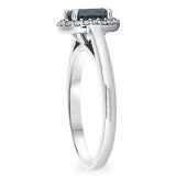 Oval Sapphire and Diamond Micropavé Diamond Ring in 18k White Gold - Bullion & Diamond, Co.