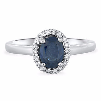 Oval Sapphire and Diamond Micropavé Diamond Ring in 18k White Gold