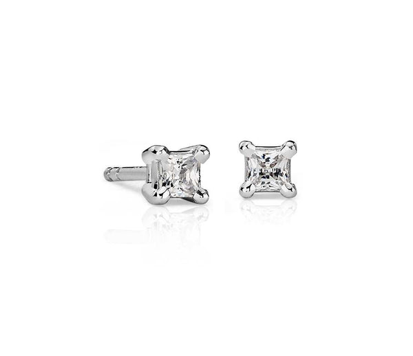 Princess-Cut Diamond Stud Earrings in 14k White Gold (1/4 ct. tw.) - Bullion & Diamond, Co.