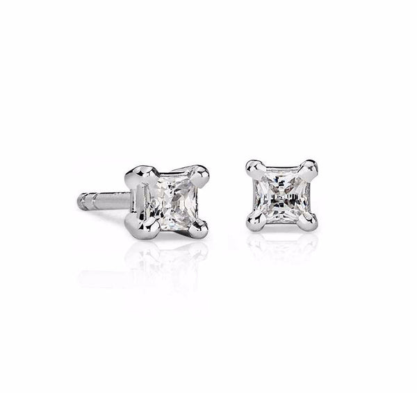 Princess-Cut Diamond Stud Earrings in 14k White Gold (1/2 ct. tw.) - Bullion & Diamond, Co.