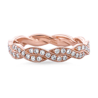 Infinity Twist Micropave Diamond Wedding Ring in 18k Rose Gold (1/3 ct. tw.)