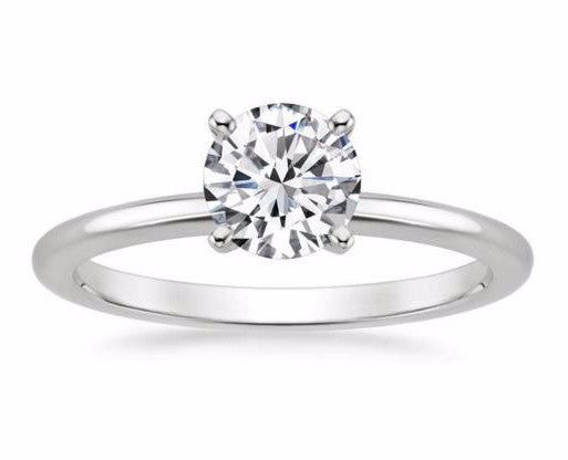 Petite Solitaire Engagement Ring in 14k White Gold - Bullion & Diamond, Co.