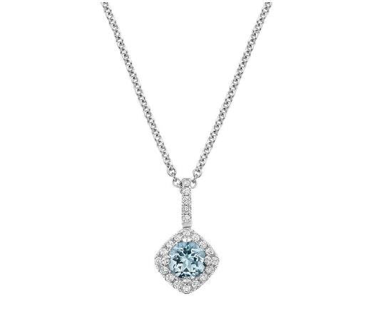 18k White Gold Aquamarine Diamond Pendant - Bullion & Diamond, Co.