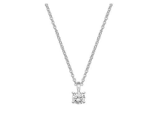 18K White Gold Four-Prong Diamond Pendant (1/2 CT. TW.) - Bullion & Diamond, Co.