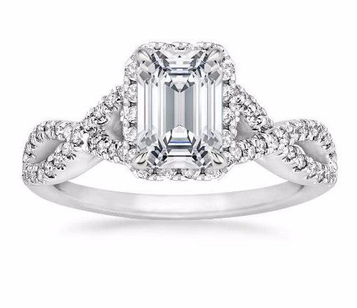 Entwined Halo Diamond Engagement Ring in 18k White Gold  (1/3 Ct. tw.) - Bullion & Diamond, Co.