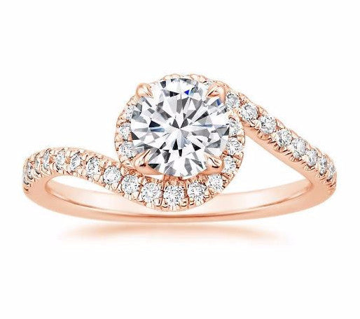 Halo Diamond Twist Engagement Ring Setting 18k Rose Gold - Bullion & Diamond, Co.