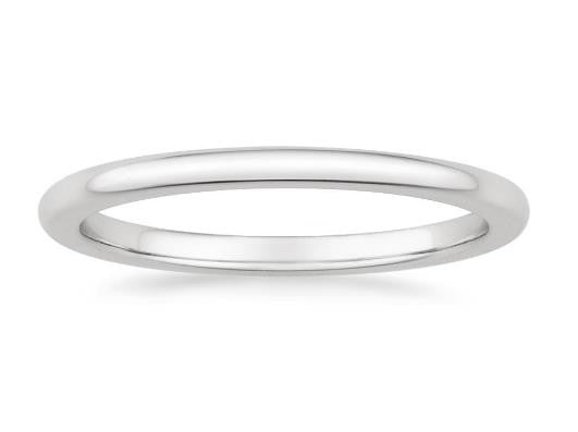 Petite Comfort Fit Wedding Ring in 18k White Gold - Bullion & Diamond, Co.