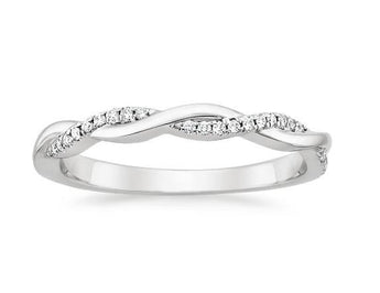 Petite Twisted Diamond Ring in 18k White Gold (1/8 ct. tw.)